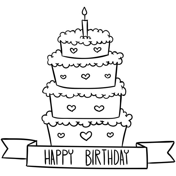 Happy Birthday 4 Tier Cake Craft Stamp