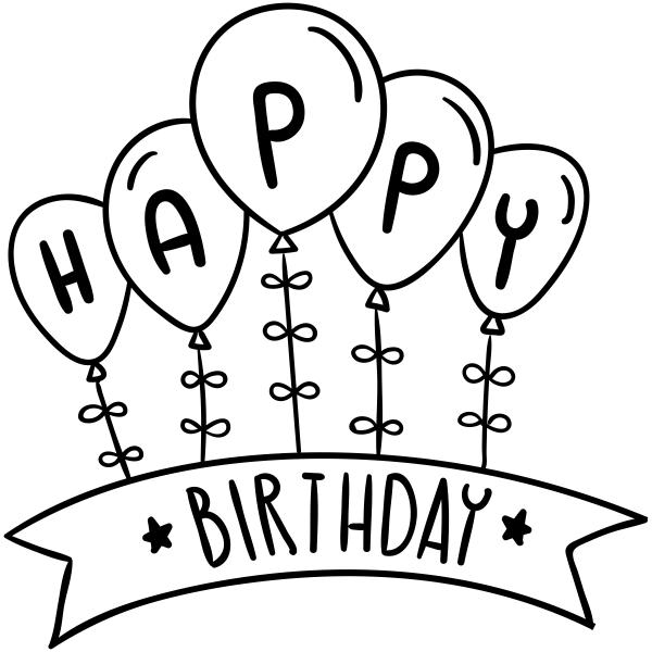 Happy Birthday Balloons Craft Stamp