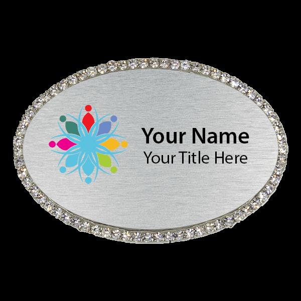 Magnetic Bling Rhinestone Full Color Oval Badge
