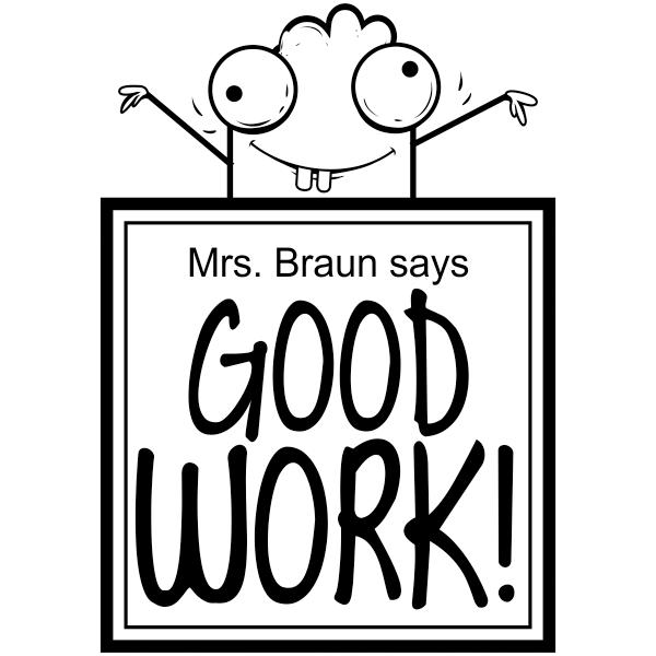 Feedback - GOOD WORK! Google Eyes Cartoon Rubber Teacher Stamp