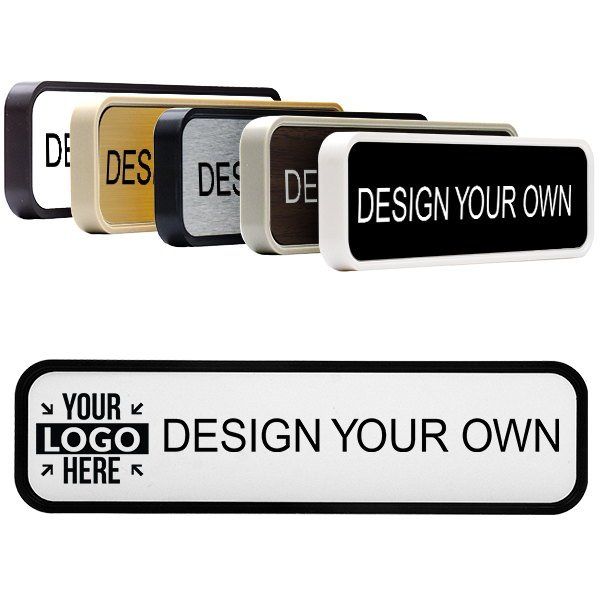 Engraved Office Name Plate for Wall or Door - Rounded Corners - Removable Insert - 2x8 (9128)