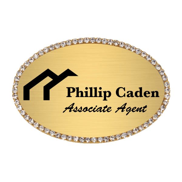 Sparkle Real Estate Engraved Oval Name Tag