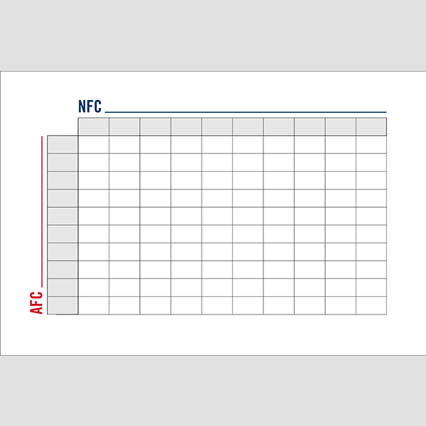 Blank Football Squares Game With Leauges 12x18 size