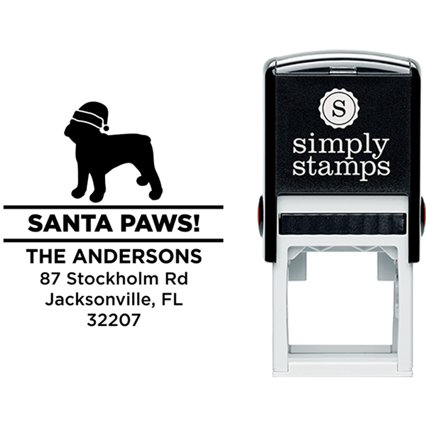 Santa Paws French Bull Dog Holiday Address Stamp