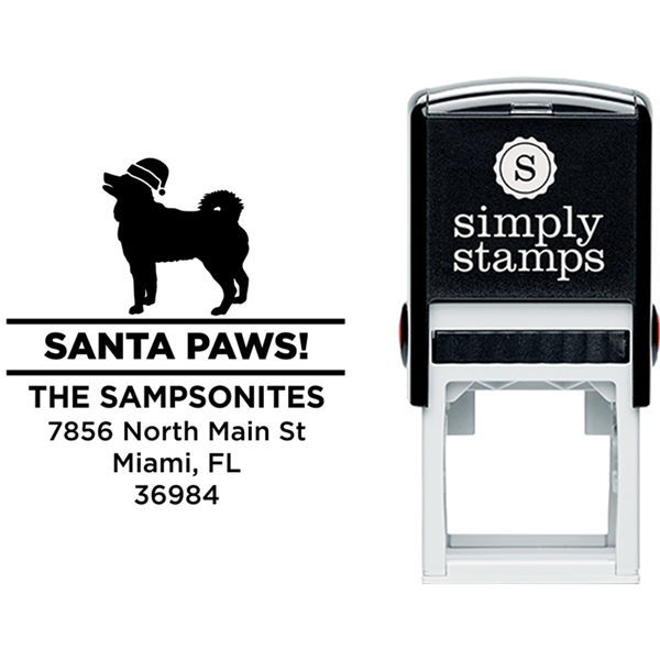Santa Paws Husky Holiday Address Stamp