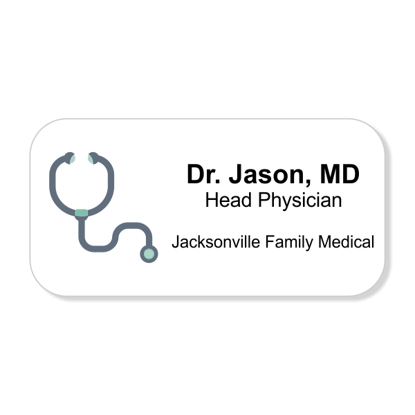 Stethoscope Full Color Name Tag