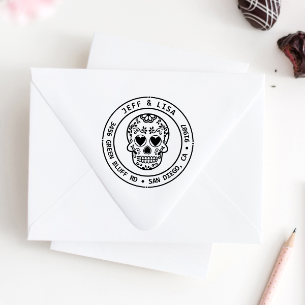 Sugar Skull Four Round Address Stamp Imprint Example