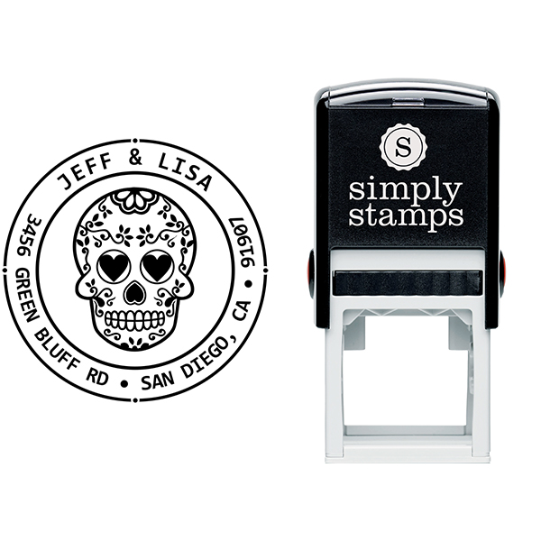 Sugar Skull Four Round Address Stamp Body and Design