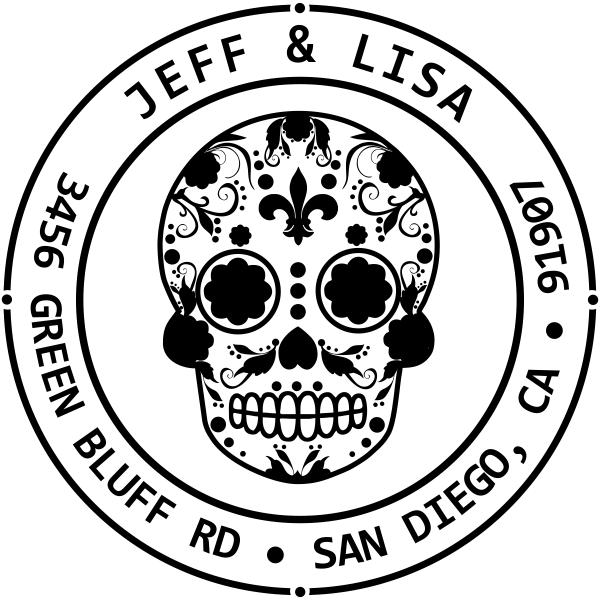Fleur De Lis Sugar Skull Round Address Stamp