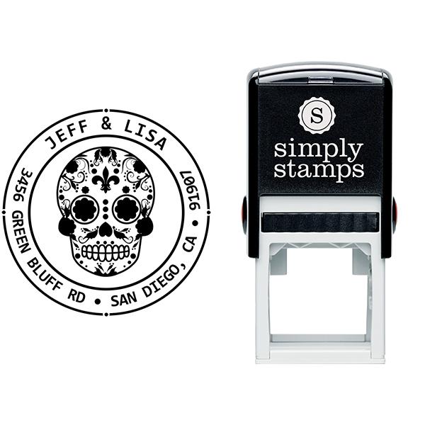 Sugar Skull Eleven Round Address Stamp Body and Design