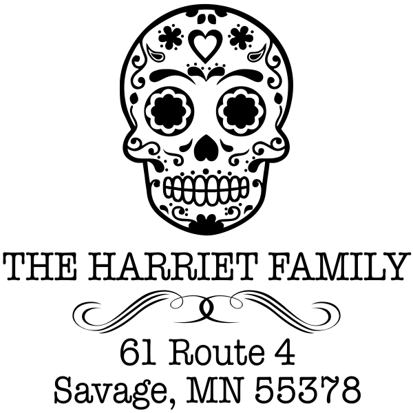 Sugar Skull Tucker Return Address Stamp