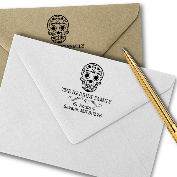 Sugar Skull Tucker Return Address Stamp Imprint Example