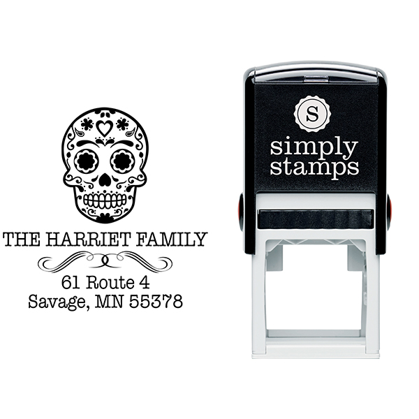 Sugar Skull Tucker Return Address Stamp Body and Design