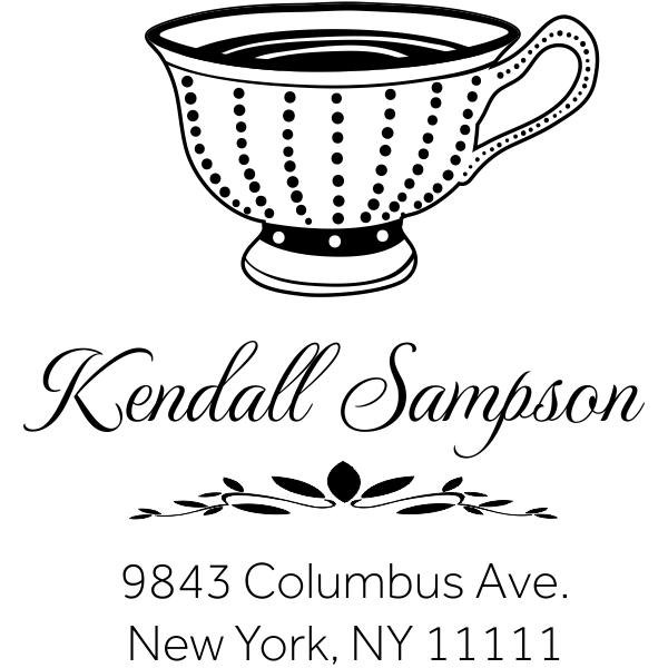 Dot Victorian Tea Cup Address Stamp