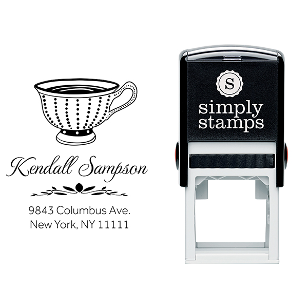 Dot Victorian Tea Cup Address Stamp Body and Design