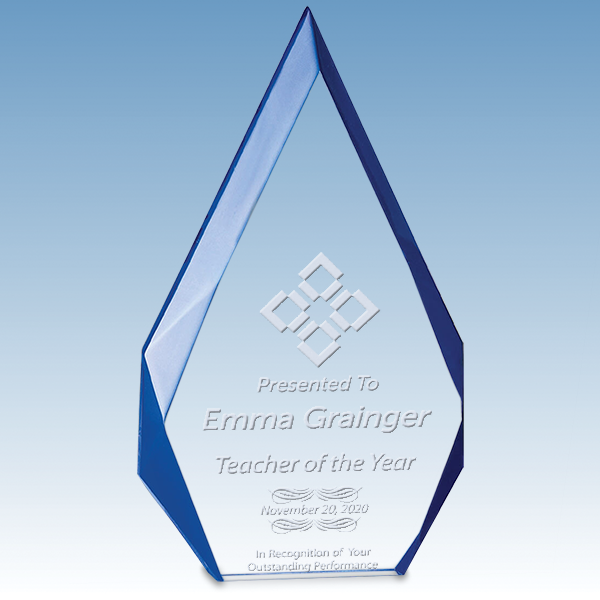 Teacher Flame Series Free Standing Acrylic Award with Blue Accented Bevels