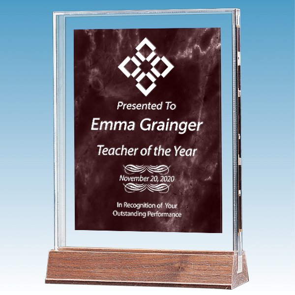 Teacher Marble Ruby Polished Acrylic Award on Walnut Base