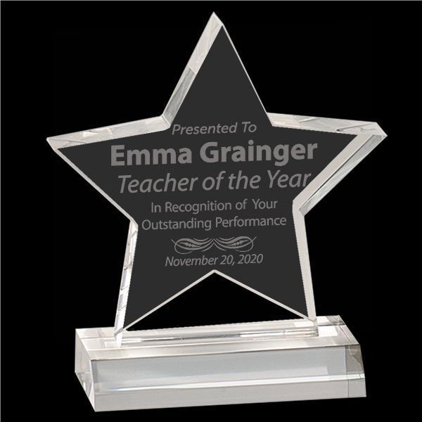 Teacher of the Year Star Acrylic Award