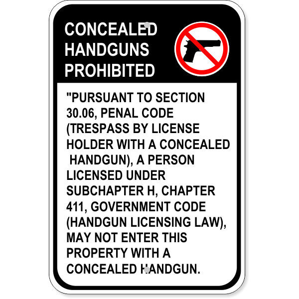 """Texas Concealed Weapons Sign 30.06 English 