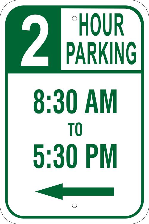 Parking Time Left Arrow Parking Sign