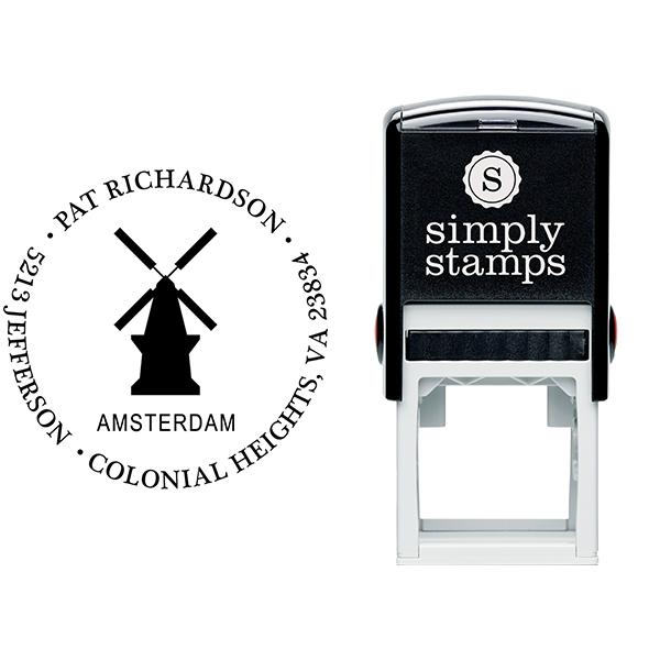 Amsterdam Travel Return Address Stamp Body and Imprint