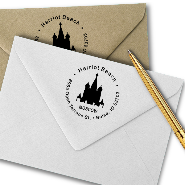 Moscow Travel Return Address Stamp Imprint Examples