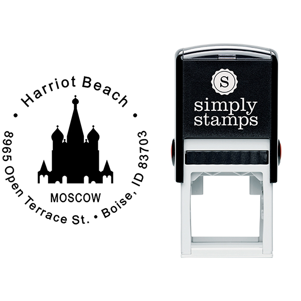 Moscow Travel Return Address Stamp Body and Imprint