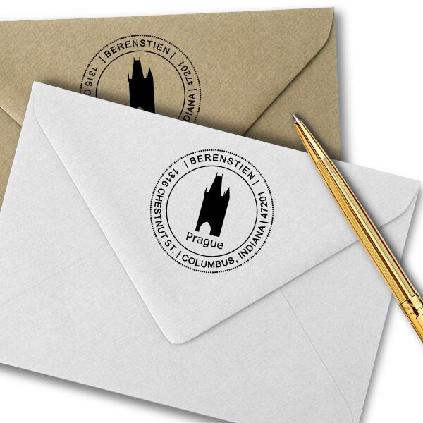 Prague Travel Return Address Stamp Imprint Examples