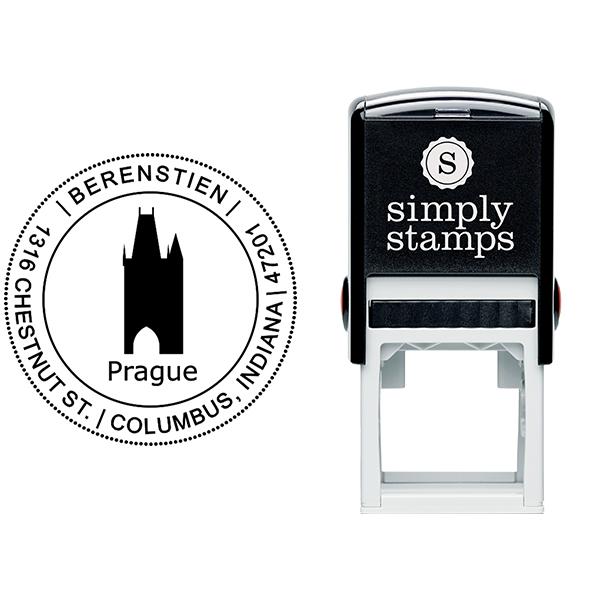 Prague Travel Return Address Stamp Body and Imprint