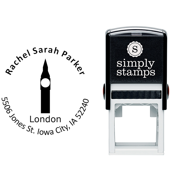 London Travel Return Address Stamp Body and Imprint