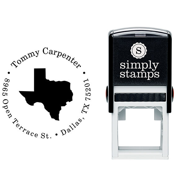 Texas Round Address Stamp Body and Design