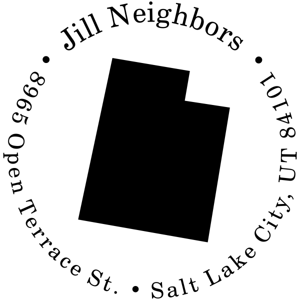 Black Utah State Round Address Stamp