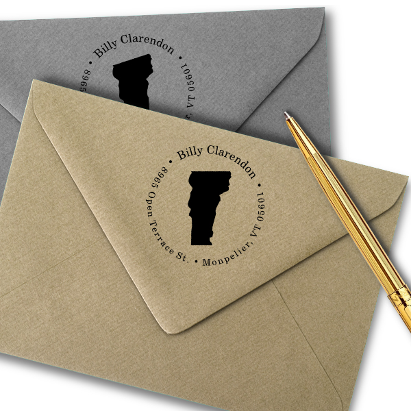 Vermont Round Address Stamp Imprint Example