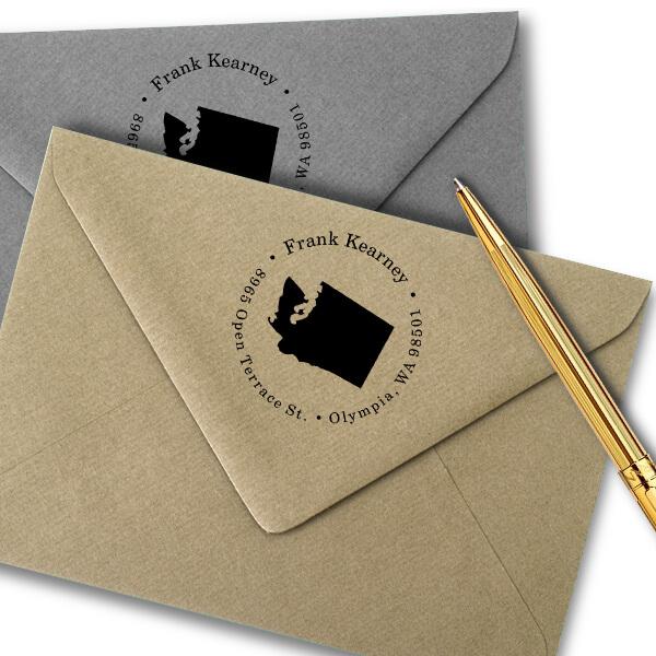 Washington Round Address Stamp Imprint Example
