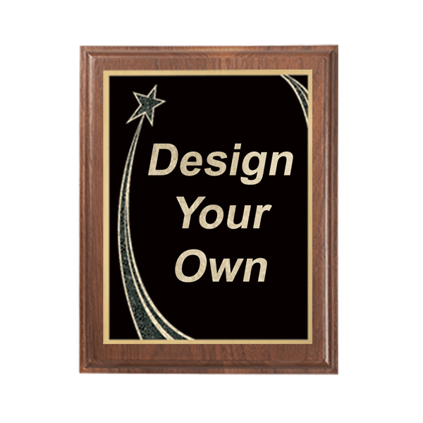 Rising Star Walnut Plaque 7x9 size - choose your plate color