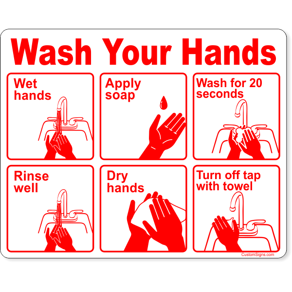 """Wash Your Hands Instructions Full Color Sign 