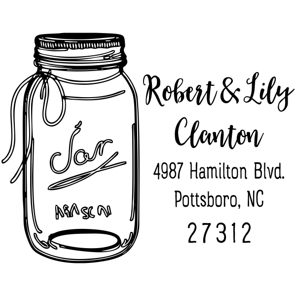 Mason Jar Couple Address Stamp