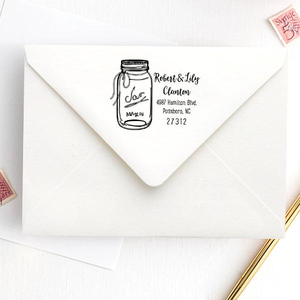 Mason Jar Couple Address Stamp Imprint Example