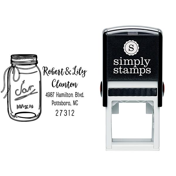 Mason Jar Couple Address Stamp Body and Design