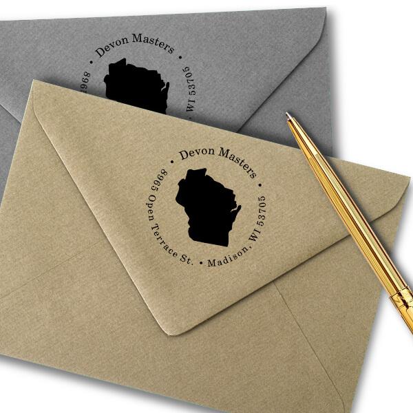 Wisconsin Round Address Stamp Imprint Example