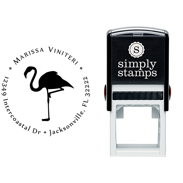 Flamingo Return Address Stamp Body and Design