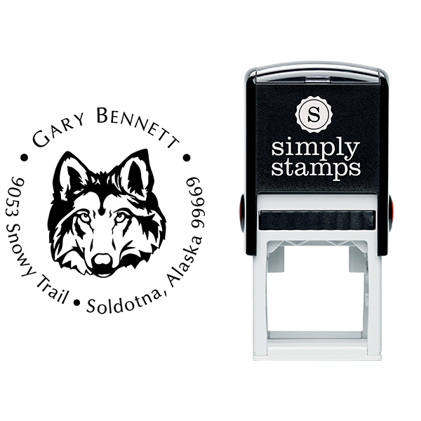 Wolf Face Return Address Stamp Body and Design