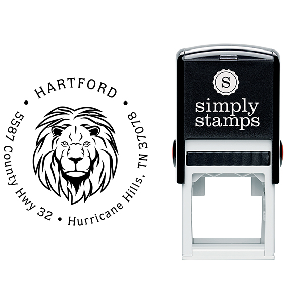 Lion Head Return Address Stamp Body and Design
