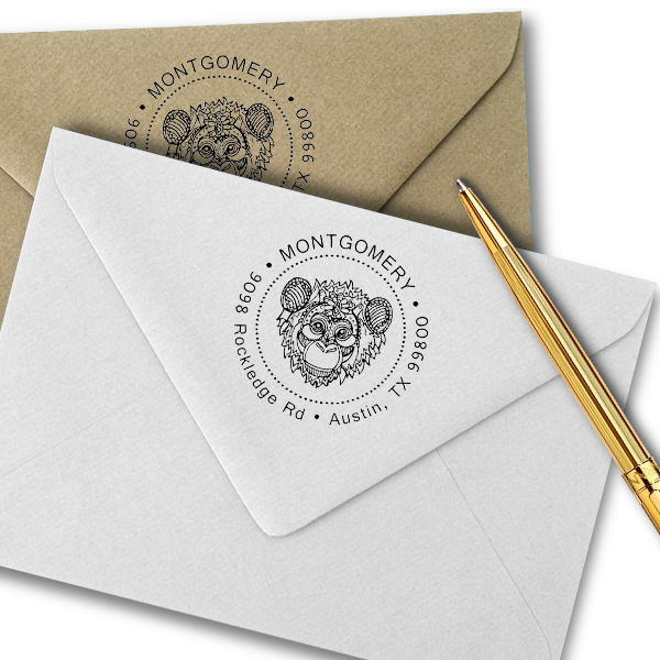 Funky Monkey Head Return Address Stamp Imprint Example