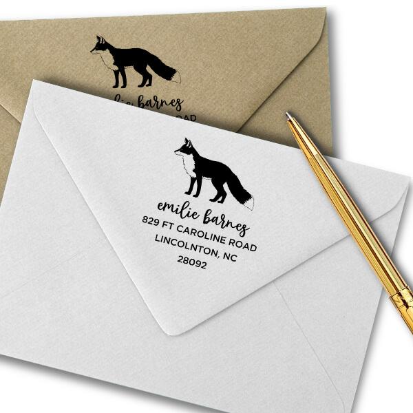 Red Fox Custom Animal Return Address Stamp Imprint Example