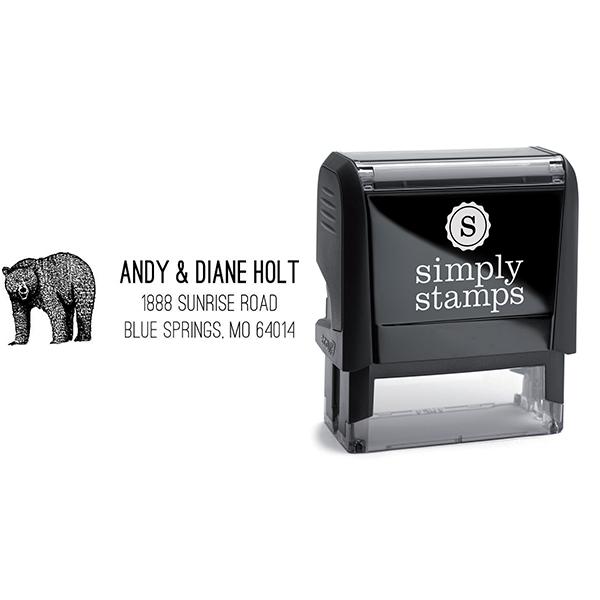 Brown Bear Custom Animal Return Address Stamp Body and Design
