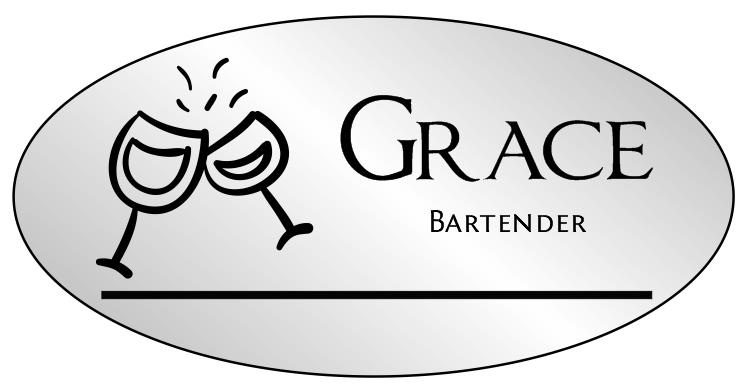Oval 2 Line Bar & Wine Name Badge B