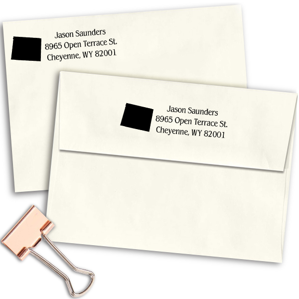 Wyoming Return Address Stamp Imprint Example