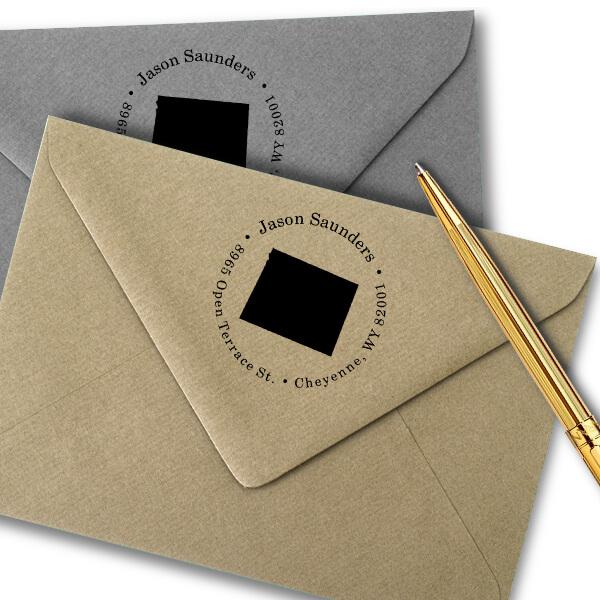 Wyoming Round Address Stamp Imprint Example