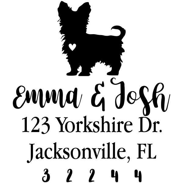 Yorkshire Terrier Love Address Stamp